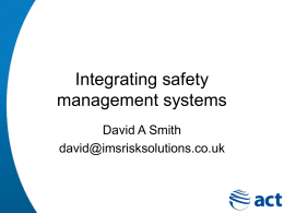 15 May 2014 Integrating management systems