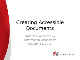 Creating Accessible Documents - Minnesota State University
