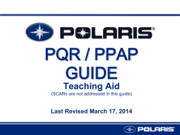 PQR PPAP GUIDE - Polaris Supplier Information System