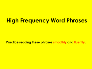 High Frequency Word Phrases - Anderson Elementary School