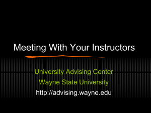 Meeting With Your Instructors - Advising