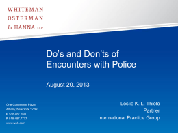 Do`s and Don`ts of Encounters with Police