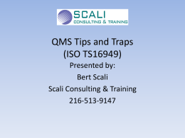 ISO TS 16949 Tips and Traps.