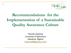 Recommendations for the Implementation of a