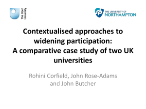 Contextualised approaches to widening participation