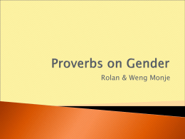 Proverbs on Gender - Add To Your Learning