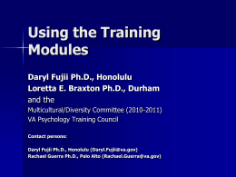 How to use the modules - APPIC Shared Training Documents