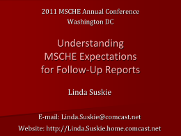 MSCHE Follow-up Reporting Expectations
