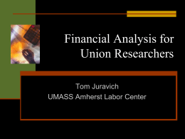 Financial Analysis for Union Researchers
