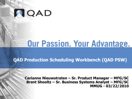 QAD PSW - Midwest User Group