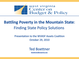 PresentationforWVASF2010 - West Virginia Center on Budget