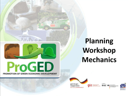 Planning Workshop Mechanics