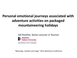 Personal emotional journeys associated with adventure activities on