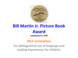 Bill Martin Junior Book Award 2012