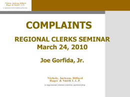 Complaints by Joe Gorfida, Jr.