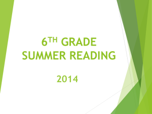JR. HIGH SUMMER READING ASSIGNMENT