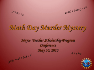 Math Day Murder Mystery  - The Robert Noyce Scholarship