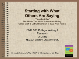 PPT #1 Starting with What - Missouri Western State University