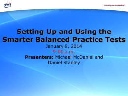 Setting Up and Using the Smarter Balanced Practice Tests Webcast