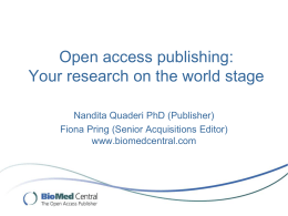 BioMed Central and SpringerOpen
