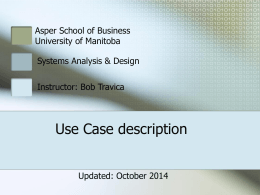 Use Case Description - University of Manitoba