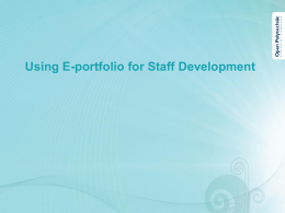Using E-portfolio for Staff Development