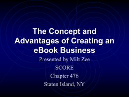 The Concept and Advantages of eBooks
