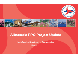 Albemarle RPO Project Update 2011