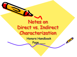 Notes on Direct vs. Indirect Characterization