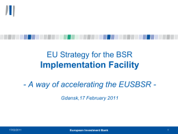EIB Presentation - EU Strategy for the Baltic Sea Region