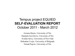 Tempus project EQUIED SELF-EVALUATION REPORT October 2011