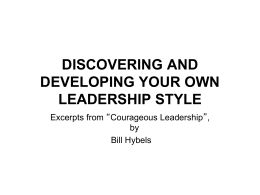 discovering and developing your own leadership style