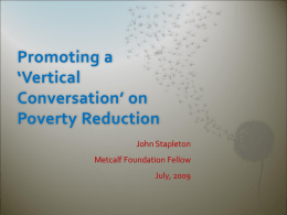 Promoting a `Vertical Conversation` on Poverty