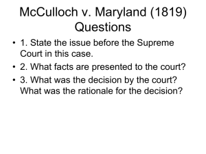 McCulloch V. Maryland, 1819