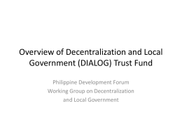 (DIALOG) Trust Fund - Philippines Development Forum