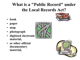 "What is a ""Public Record"" under the Local Records Act?"