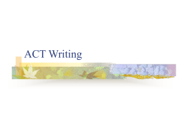 ACT Writing - Central High School
