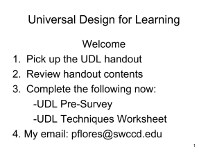 Universal Design for Learning Introduction and