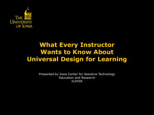 What Every Instructor Wants to Know About Universal Design for