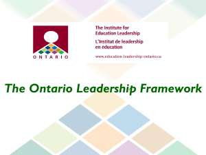 PowerPoint Presentation of the Ontario Leadership Framework (OLF)