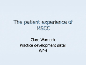 The patient experience of MSCC