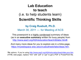 PowerPoint Presentation - Lab Education to teach Scientific Thinking