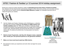 BTEC `Fashion & Textiles` yr 12 summer 2014 holiday assignment