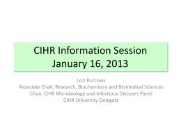 2013 CIHR Info Session January 16, 2013