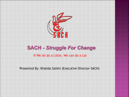 Regional seminar presentation on SACH, Pakistan