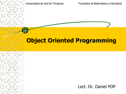 Object Oriented Programming - Universitatea de Vest din Timişoara