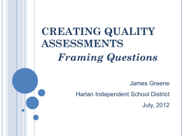 Framing Questions - Harlan Independent Schools