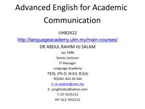 Advanced English for Academic Communication