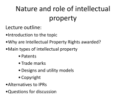 Nature and role of intellectual property