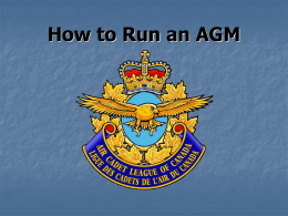 How to run an AGM - Air Cadet league of BC